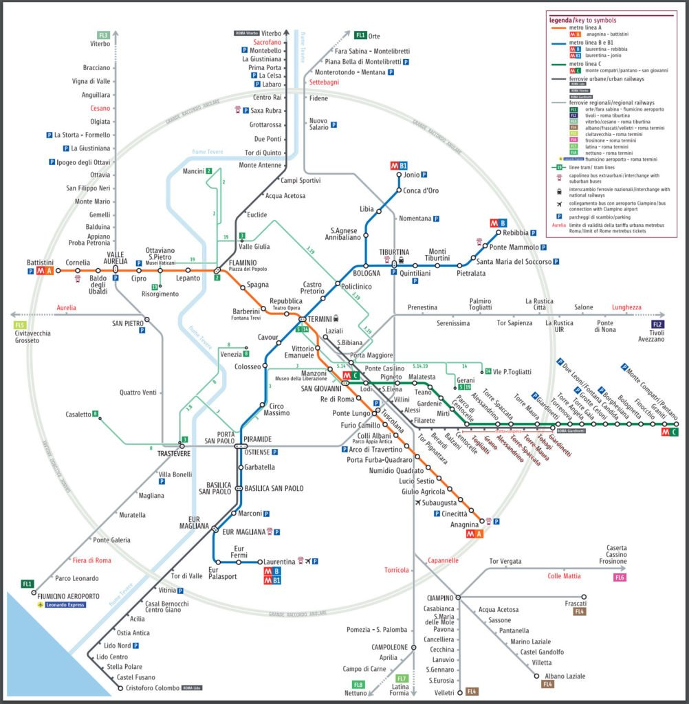 Rome full public transport map extent of ATAC ticket validity - Rome Vacation Tips