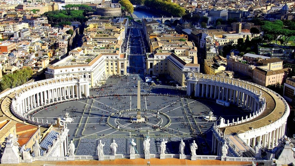 View of St Peter's Square from the dome of St Peter's Basilica | Rome Vacation Tips