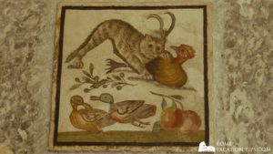 Mosaic of cat catching chicken from Hadrian's Villa, now in the Vatican Museums