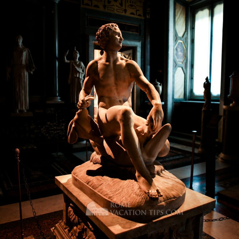 Reimagined ancient Roman sculpture: satyr and dolphin - Galleria Borghese - Rome Vacation Tips