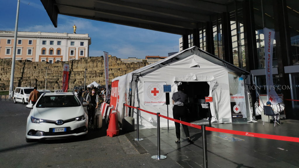 Red Cross tent offering free rapid flow Covid tests at Termini Station | Rome Vacation Tips