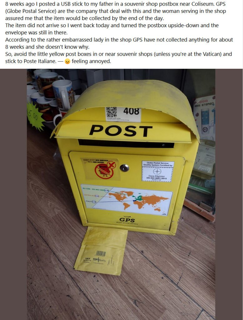 Courier post box in Rome showing package that had not been collected for two months.